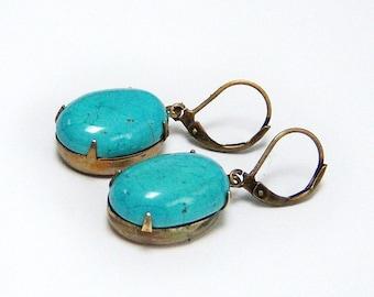 Beautiful/Turquoise Earrings/Oval Turquoise Earrings/Turquoise Dangle Earrings/Bronze And Turquoise Earrings/Turquoise Stone jewelry()()