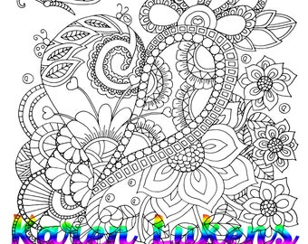 """Valentine's """"Heart Doodle"""", 1 Adult Coloring Book Page, Printable Instant Download"""