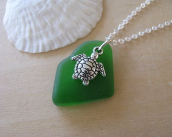 Sea Glass and Turtle Necklace Green Sea Glass Jewelry Green Beach Glass