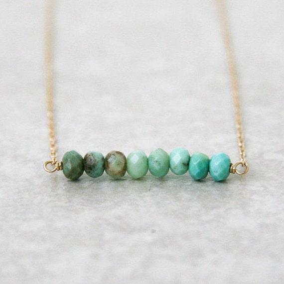 Aqua chrysoprase bar necklace