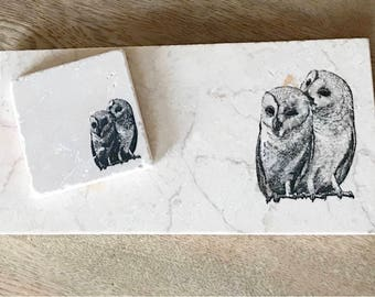 TWIN OWL natural stone platter and coaster tableware (various sizes)