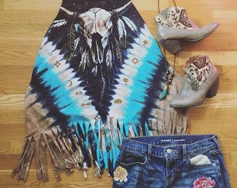 Cow Skull Buffalo Print Tie Dye Fringe Tank Top Tee Top Shirt Womens Clothing One Size Cowskull