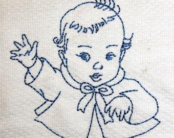 Vintage Baby Machine Embroidery Design 4x4 hoop, vintage redwork, bluework, quick stitch, baby, child, boy, girl, toddler