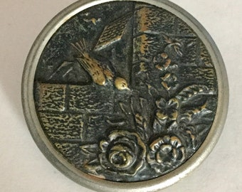 Bird on Wall Admiring Flowers Large Metal Antique Picture Button Old
