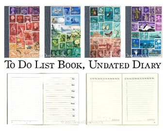 To Do List Book, Undated Free Journal | Custom Upcycled Postage Stamp Collage | One Month Journal, Open Diary Notebook, Pocket Bujo Notebook