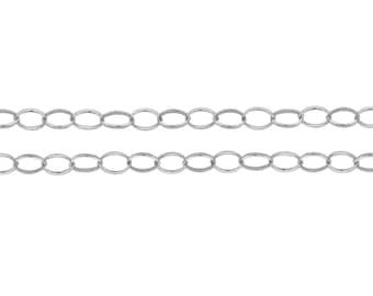Chains, Oval Rolo Chain, Sterling Silver, 3.1x2.4mm - 5ft Made in USA  Lowest Price wholesale quantity (5436-5)/1