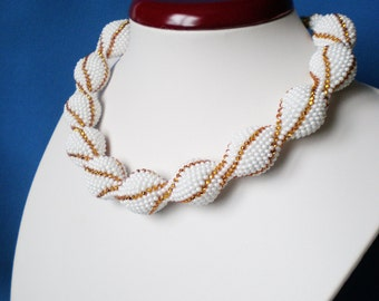 Crochet beaded necklace Knitted beaded necklace Necklace crochet Crochet beaded bead White necklace Beadwork Gift Necklace Seed bead jewelry