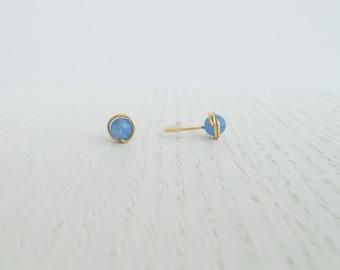 Summer SALE - Agate stud earrings, Blue agate earrings, Blue studs