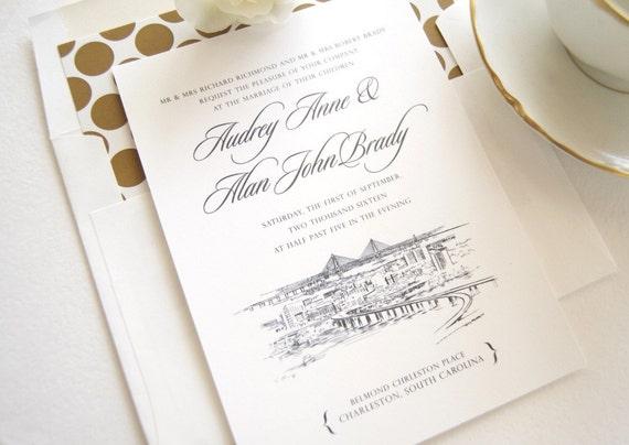 Charleston Sc Wedding Invitations: Charleston Skyline Wedding Invitation Charleston Wedding