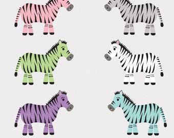 Zebra Clip Art Pink Blue Multicolored Zebras