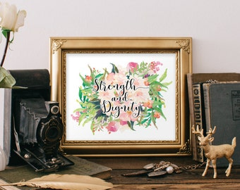 Christian gifts for women, Gift for her, Strength and Dignity, Gift for women, Bible verse print, Proverbs 31, Bible verse, Scripture, 252