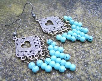 Chandelier Earrings . Glass Beaded Earrings. Drop Earrings . Dangle Earrings . Turquoise Earrings .Boho Earrings . Boho Chic earrings