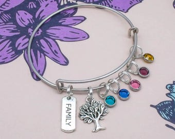 Mother's Day Gift | Family Tree Birthstone bracelet jewellery | family jewellery | family bracelet | gift for mum mom mother | grandma