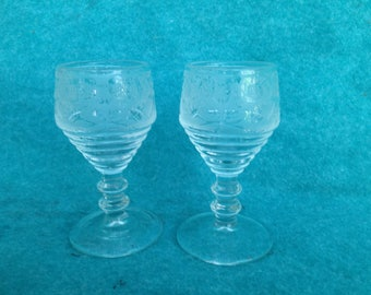 Paden City Glass Penny Line Stems with Spring Orchard Etch Pair of Frosted Wines