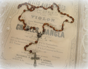 vintage rosary brown with black leather case pouch rosary is complete