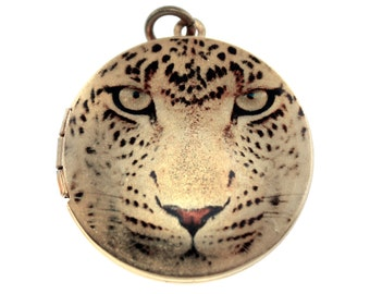Photo Locket, Image Locket, Art Locket, Picture Locket, Brass Locket - BIG CATS - Leopard