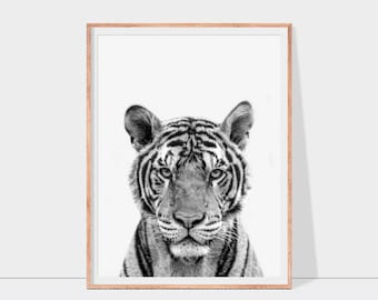 Tiger print in black and white or greyscale, tiger wall art, animal printable art, nursery decor, instant download tiger printable, wildlife