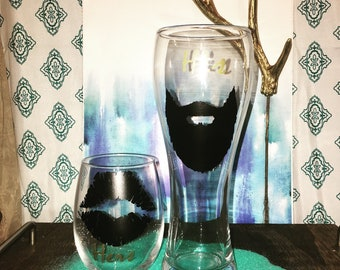 His and Hers Beer and wine glass