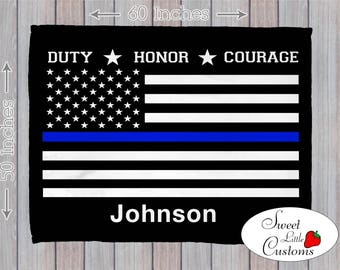 Thin Blue Line Flag Police Blanket - % of proceeds donated to Police organization