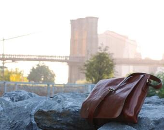 Messenger Bag / Full Grain Leather / Floto Firenze 0503 Brown Leather Bag / Large Crossbody
