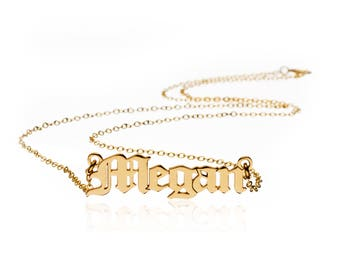 Gold Plated Necklace Name Pendant Gold 24K Name Chain Necklace Gold Plated Necklace w/ Name Gold Plated Necklace Name Pendant