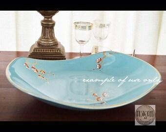 JAMES KENT - Old Foley - Capri - 5393 - Cherry Blossom Pattern - AU -  Turquoise Fruit Bowl - Vintage Mid-Century 1950s-TW070