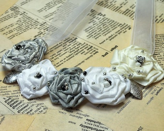 Pretty Beaded Rosette Necklace...Silver Grey, Cream and White Satin Rosettes with bead accents