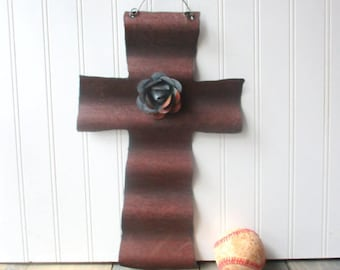 Reversible corrugated tin cross rusty and galvanized with removable magnet tin rose wall hanging Farmhouse decor straight ends