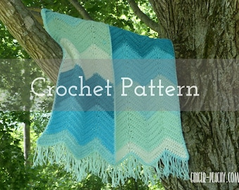 CROCHET PATTERN Agua Azul Baby Blanket | Blue | Chevron | Ripple | Green | Caron Cakes | Self-Striping yarn | Southwest | Indian | Mexican