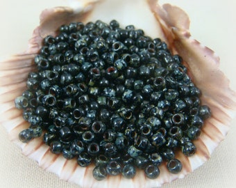 TOHO Seed Beads - 8/0 Jet Black Picasso (T8/N-442) - 3mm Seed Beads - Qty 10 grams