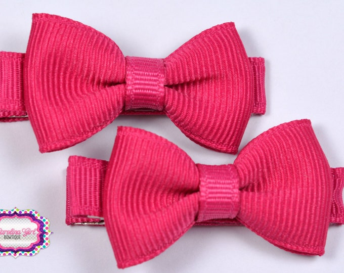 Shocking Pink Hair Bow Set of 2 Small Hairbows - Girls Hair Bows - Clippies - Baby Hair Bows - Mini Hair Bow Set