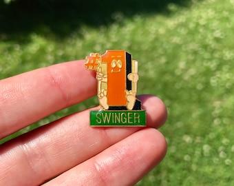 swinger enamel pin vintage lapel hat jacket pin