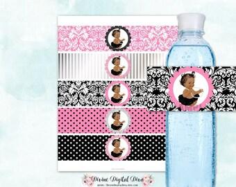Water Bottle Labels Pink Black & Silver | Vintage Baby Girl African American Skin Tone | Digital Instant Download