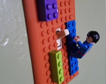 Lego Compatible Light Switch Plate - 1, 2, and 3 Switch Versions NOW Available - Home Decor - Many Colors Available