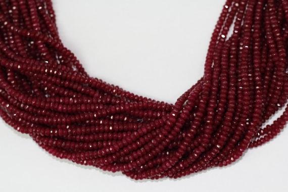 "Ruby Jade 4x2mm faceted roundel beads 16"" length full strand"