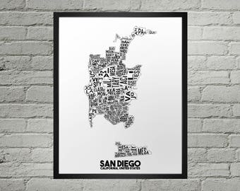 San Diego California Neighborhood Typography City Map Print