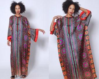 Vintage 70s Floral Caftan JAY MORLEY for Fern Violette Dress RARE Psychedelic Kimono Dress 70s Maxi Dress