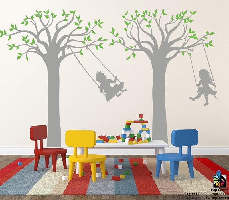 Children Playroom Tree Wall Stickers School Kids Vinyl Wall