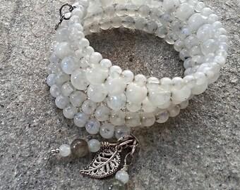 Moonstone on Memory Wire Bracelet