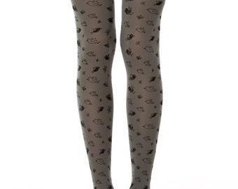 Birds tights in grey, grey opaque tights