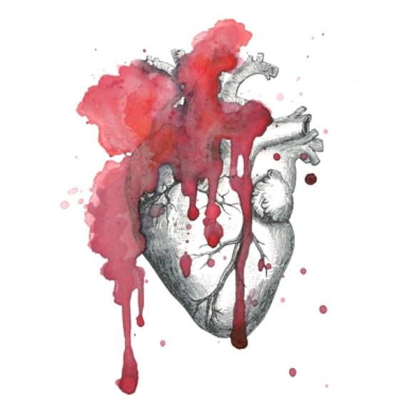 Tatuaje temporal del corazón anatómico acuarela vintage