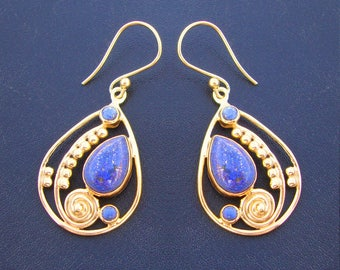 925 Sterling Silver Hand Crafted Lapis Lazuli Gold Plated New Fine Women's Fashion Dangle Earrings