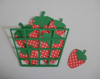 6 Die Cut Polka Dot Strawberries and Basket Embellishment for Scrapbooking or Card Making Card Stock Die Cut