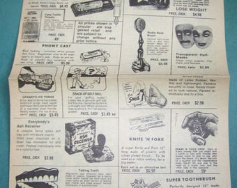 1960s/70s Joke & Novelties flyer - Vintage advertising catalogue