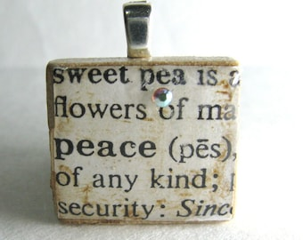 Peace - vintage dictionary Scrabble tile with Swarovski crystal
