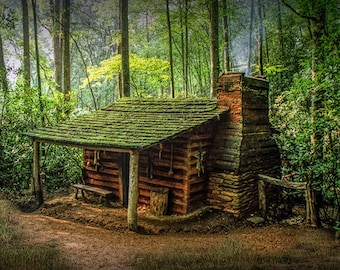 Log Cabin, Appalachian Mountains, Forest Cabin, Smoky Mountains, National Park, North Carolina, Appalachia Landscape, Fine Art Photograph