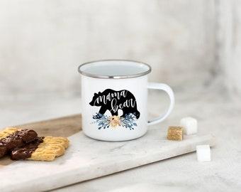 Mama Bear Camp Mug - White Enamel Camping Mug for Mom - Camping Gift - Fast Ship