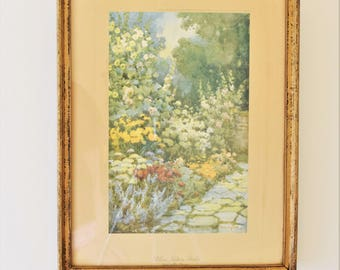 Antique Framed English Garden Print Raphael Tuck & Sons Flora Pilkington