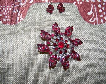 vintage brooch and earrings  deep red