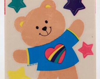 Vintage 2 Sheets Hallmark 1986 Teddy Bear and Stars Vinyl Cling